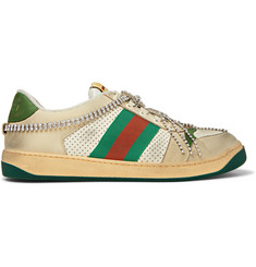 afbd023c8a8 Gucci Virtus Distressed Crystal-Embellished Leather and Webbing Sneakers