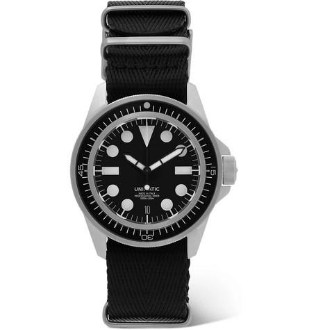 UNIMATIC U1-En Bgw-09 Automatic Brushed Silicone And Webbing Watch in Black