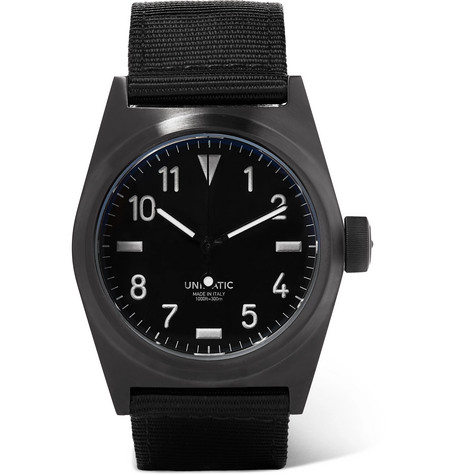 UNIMATIC U2-Bn Dlc-Coated Stainless Steel And Webbing Watch in Black