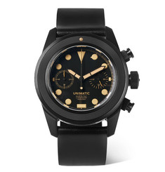 U3-an Dlc-coated Brushed Stainless Steel And Webbing Watch - Black