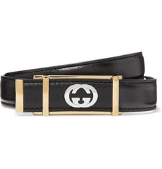 Gucci 2cm Black Textured-Leather Belt