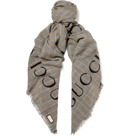 80143b6a746 Gucci - Fringed Logo-Print Prince of Wales Checked Wool Scarf