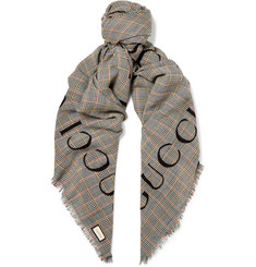 Gucci Fringed Logo-Print Prince of Wales Checked Wool Scarf