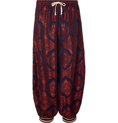 Gucci Cropped Wide-Leg Panelled Jacquard and Cotton-Blend Trousers