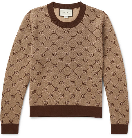 d2a7c33dc67 Gucci - Cropped Logo-Jacquard Wool and Cotton-Blend Sweater