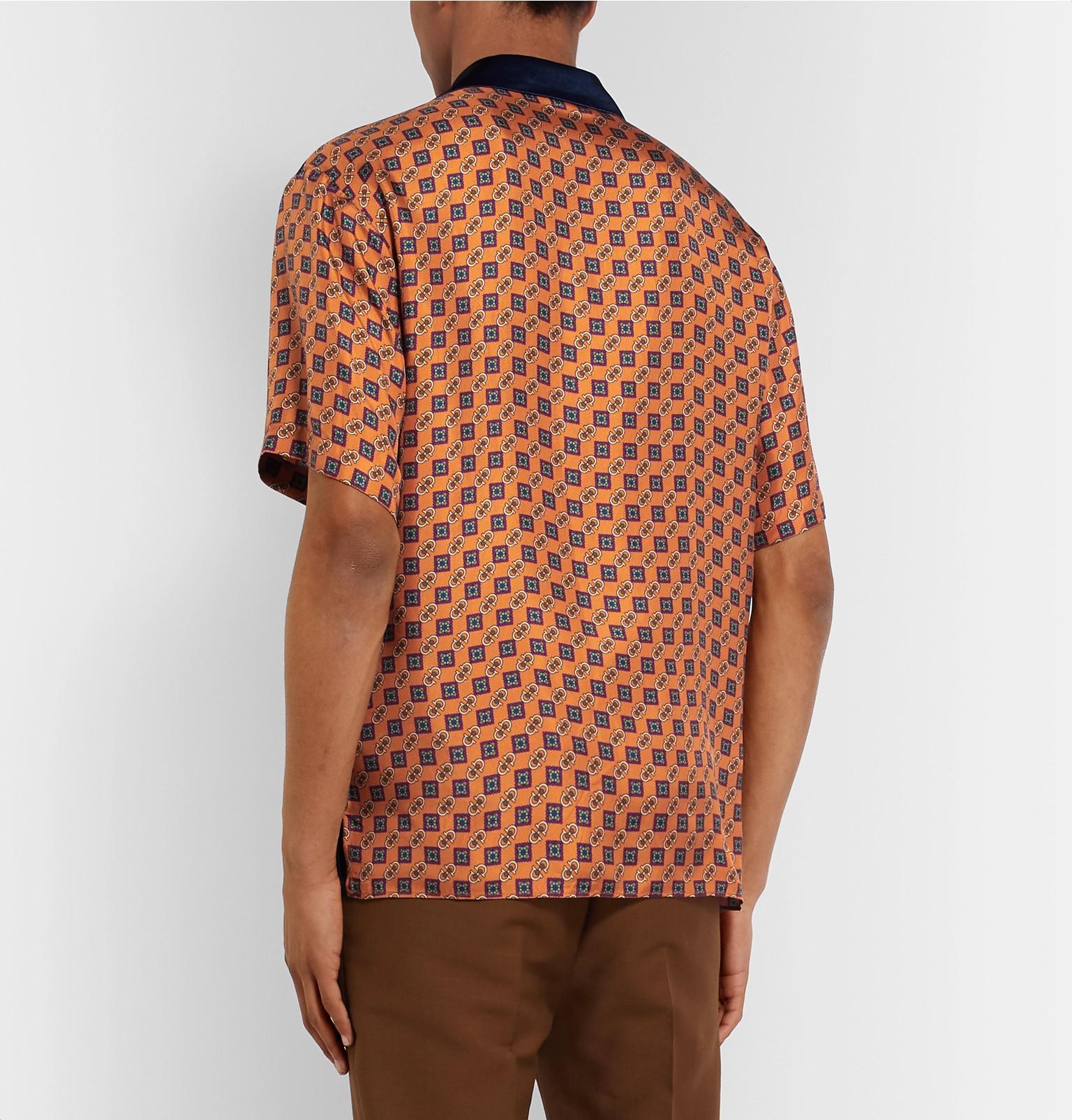fd58f100d Gucci - Camp-Collar Satin and Printed Silk-Twill Shirt