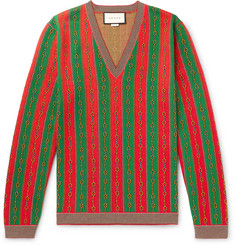 Gucci - Cotton, Wool and Cashmere-Blend Jacquard Sweater