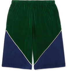 Gucci Colour-Block Cotton-Blend Velvet Drawstring Shorts
