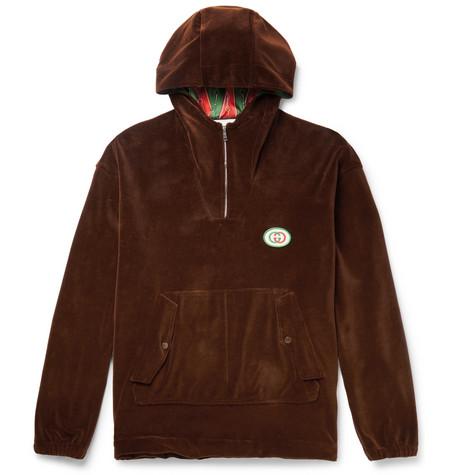 Oversized Logo Appliquéd Cotton Blend Velvet Half Zip Track Jacket by Gucci