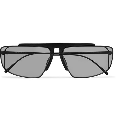 Prada Square-Frame Metal and Acetate Sunglasses