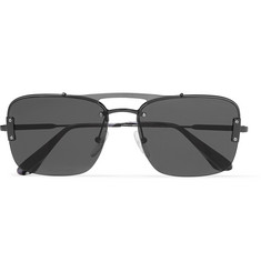 Prada Square-Frame Metal Sunglasses