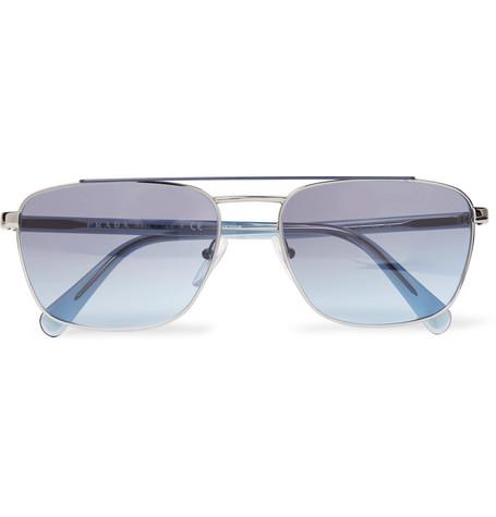 5fbfc2358fce Prada - Square-Frame Silver-Tone and Acetate Sunglasses