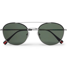 Prada Round-Frame Gunmetal-Tone and Acetate Polarised Sunglasses