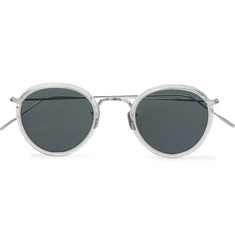Round-frame Acetate And Silver-tone Sunglasses - Silver