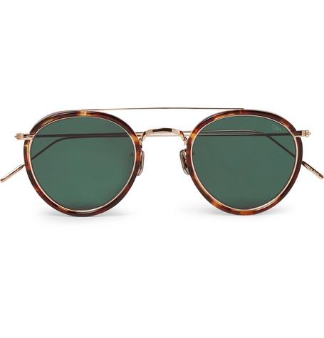ecd74c4787 Eyevan 7285Round-Frame Tortoiseshell Acetate and Gold-Tone Sunglasses