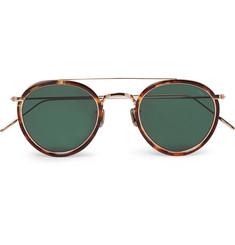 Round-frame Tortoiseshell Acetate And Gold-tone Sunglasses - Gold
