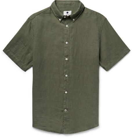 New Derek Button Down Collar Garment Dyed Linen Shirt by Nn07