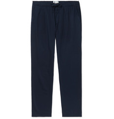 NN07 Domenico Tapered Pleated Cotton, Lyocell and Linen-Blend Drawstring Trousers