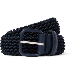 Charvet 3cm Midnight-Blue Leather-Trimmed Woven Elastic Belt