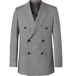 Kingsman Grey Slim-Fit Unstructured Double-Breasted Houndstooth Summer-Weight Wool Suit Jacket