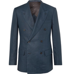 Kingsman - Navy Slim-Fit Double-Breasted Linen Suit Jacket