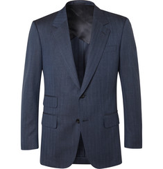 Kingsman Navy Unstructured Herringbone Wool, Silk and Linen-Blend Suit Jacket