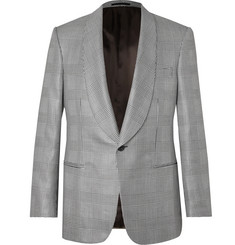 Kingsman - Black Prince of Wales Checked Wool and Silk-Blend Tuxedo Jacket