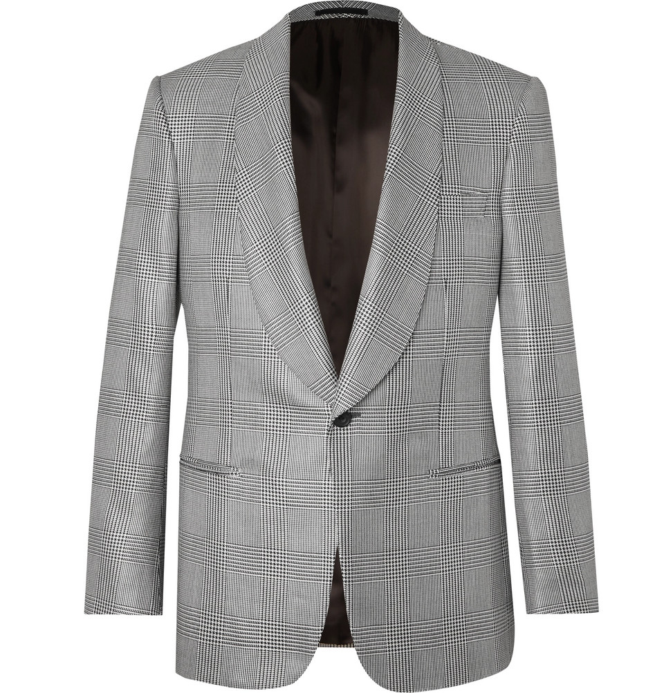 Black Prince Of Wales Checked Wool And Silk-blend Tuxedo Jacket - Black