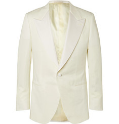 Kingsman Ivory Faille-Trimmed Cotton, Linen and Silk-Blend Tuxedo Jacket