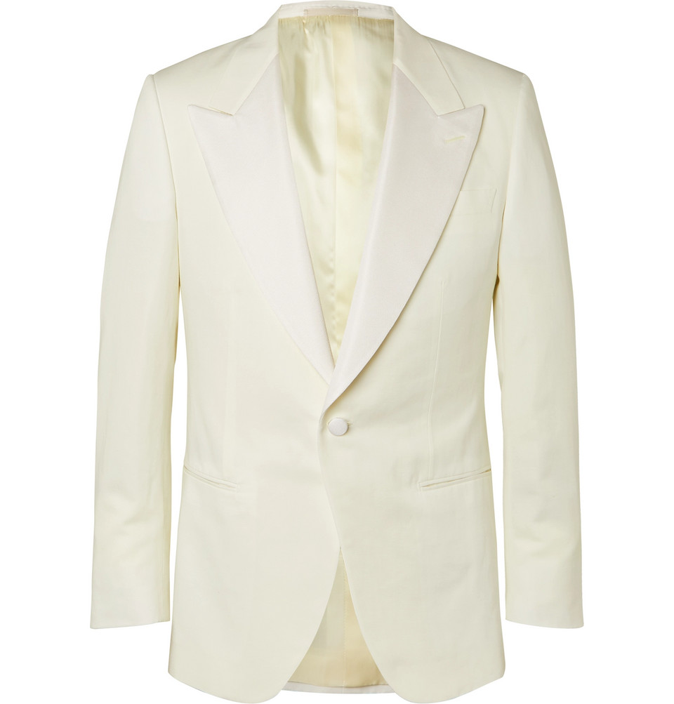 Ivory Faille-trimmed Cotton, Linen And Silk-blend Tuxedo Jacket - White