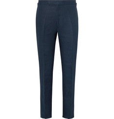 Kingsman Navy Cotton, Linen and Silk-Blend Suit Trousers