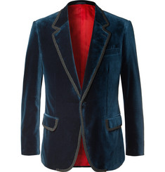 Kingsman Rocketman Navy Slim-Fit Cotton-Velvet Tuxedo Jacket