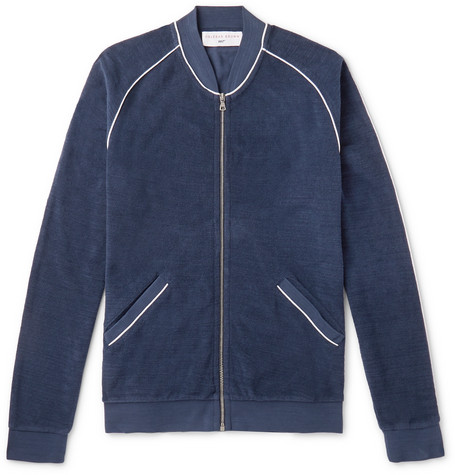 ORLEBAR BROWN | Orlebar Brown - + 007 A View To Kill Cotton-Terry Zip-Up Bomber Jacket - Navy | Goxip