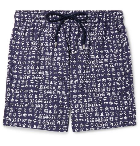 Vilebrequin Moorea Fortune Teller Turtle-Print Swim Shorts In Blue