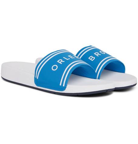 Orlebar Brown Haddon Logo-Embossed Canvas And Rubber Slides In Blue
