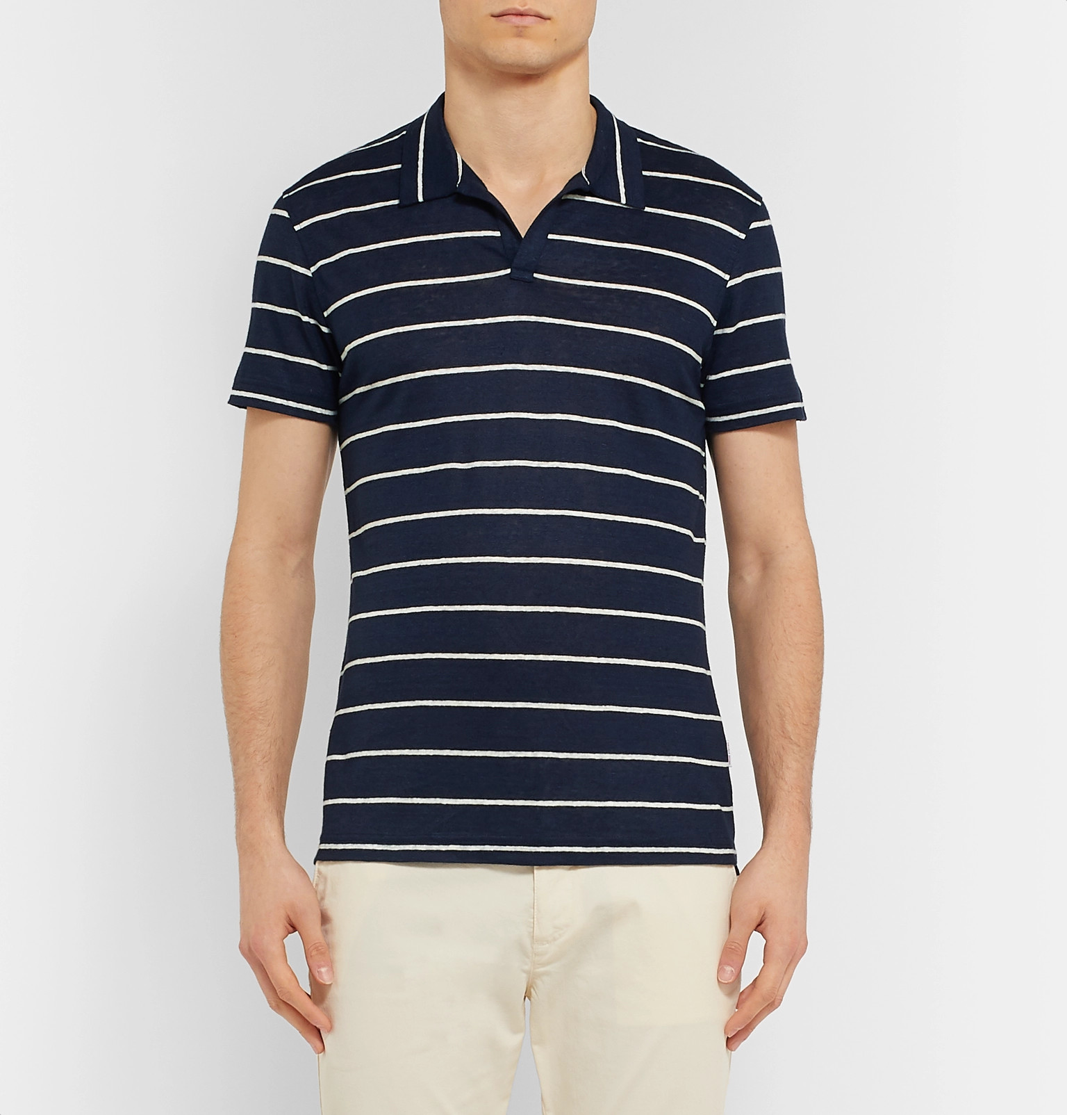 d44f77b4 Orlebar Brown - Felix Striped Linen Polo Shirt