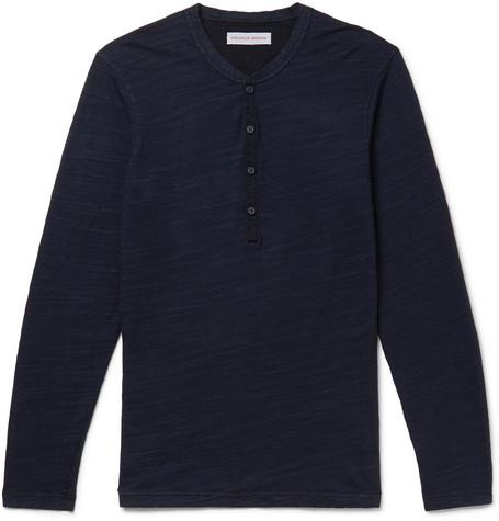 Orlebar Brown – Harrison Slim-fit Garment-dyed Slub Cotton-jersey Henley T-shirt – Navy