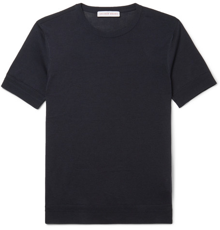 Orlebar Brown – Laughton Knitted Silk And Cotton-blend T-shirt – Navy