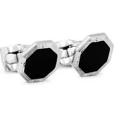 Rhodium-plated Onyx Cufflinks - Black
