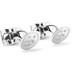 Button Silver-tone Cufflinks - Silver