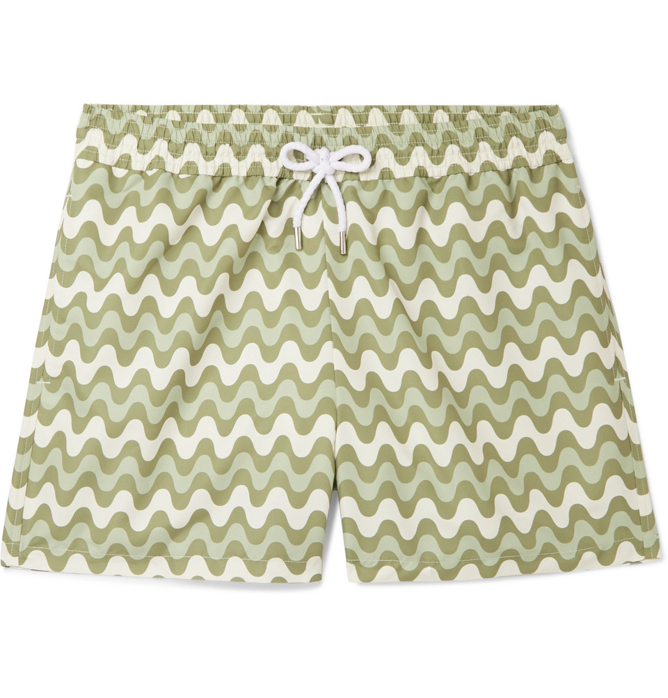 Copacabana Slim-fit Short-length Printed Swim Shorts - Green