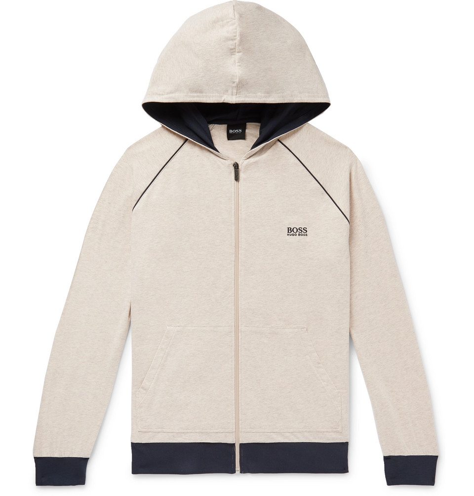 Hugo Boss Melange Stretch-Cotton Jersey Zip-Up Hoodie