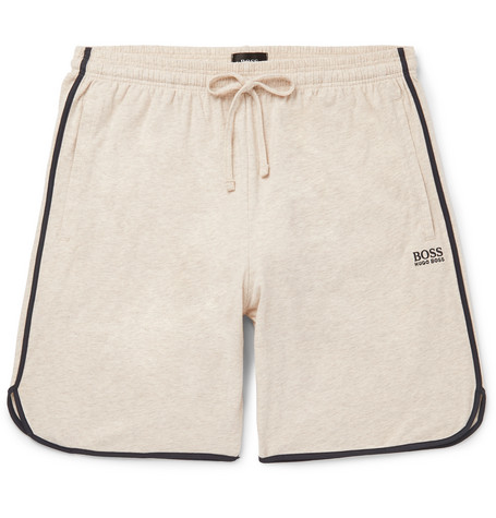 1b94e60a Hugo Boss - Piped Mélange Stretch-Cotton Jersey Drawstring Shorts