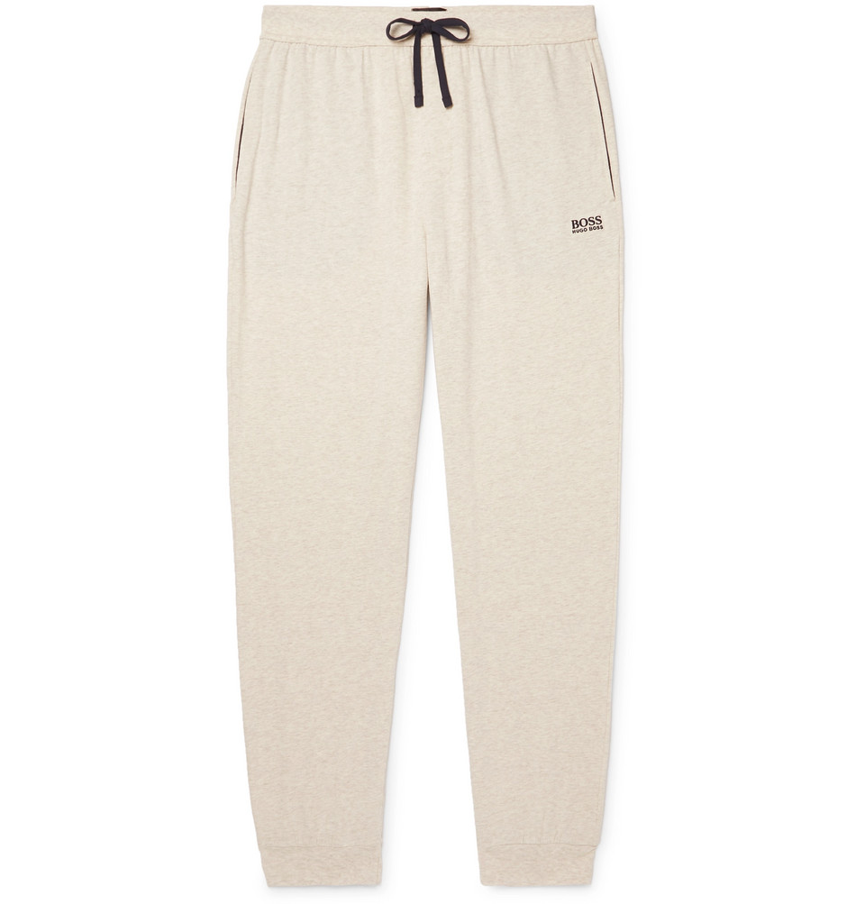 Hugo Boss Slim-Fit Tapered Melange Stretch-Cotton Jersey Sweatpants