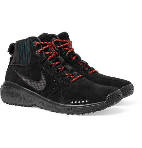 reputable site fb49e 99fd9 Nike Acg Angel s Rest Suede And Mesh Sneakers In Black
