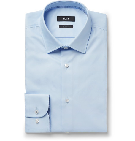 Hugo Boss Light-Blue Jesse Slim-Fit Jacquard-Trimmed Cotton-Poplin Shirt