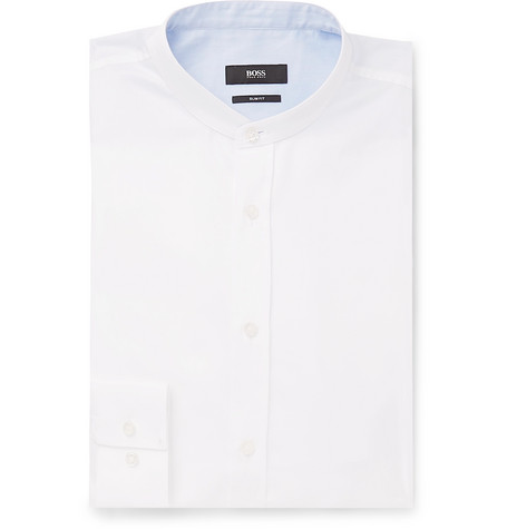 HUGO BOSS | Hugo Boss - Jowis White Slim-fit Grandad-collar Cotton-piqué Shirt - White | Goxip