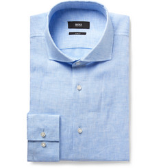 Hugo Boss Blue Jason Slim-Fit Slub Linen Shirt
