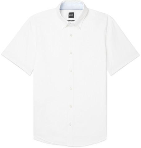 9d3f1e79 Hugo BossRoddy Slim-Fit Button-Down Collar Cotton and Linen-Blend Shirt