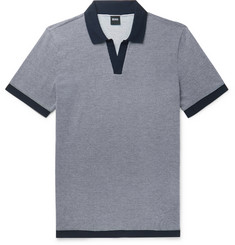 Hugo Boss Slim-Fit Textured-Knit Cotton Polo Shirt